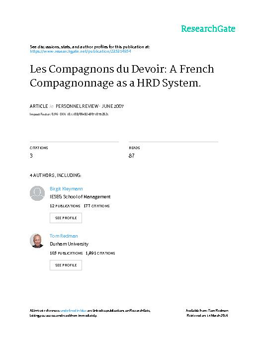 Personnel ReviewLes Compagnons du Devoir: a French Compagnonnage as a