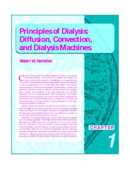 Principles of Dialysis:Diffusion, Convection, and Dialysis Machinesof