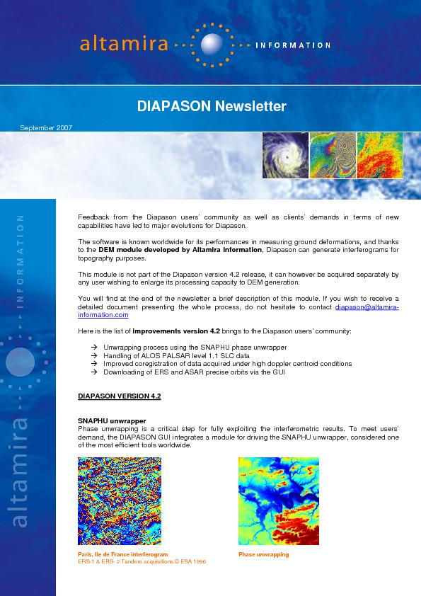 September 2007 Feedback from the Diapason users