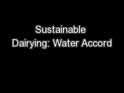 Sustainable Dairying: Water Accord
