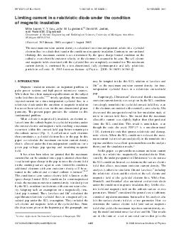 Limiting current in a relativistic diode under the condition of magnetic insulation Mike Lopez Y