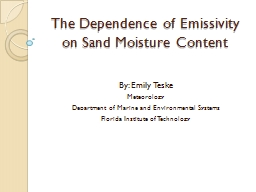 The Dependence of Emissivity on Sand Moisture Content PowerPoint PPT Presentation