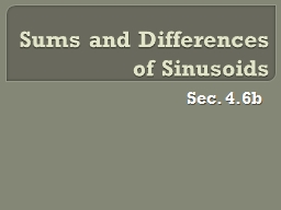 Sums and Differences of Sinusoids