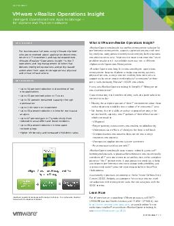 DATASHEET   DATASHEET What is VMware vRealize Operations Insight vRealize Operations Insight is a unied management solution for performance management capacity optimization and realtime log analytics