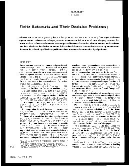 Finite Automata and Their Decision Problems Abstract Finite automata are considered in this paper as instruments for classifying finite tapes