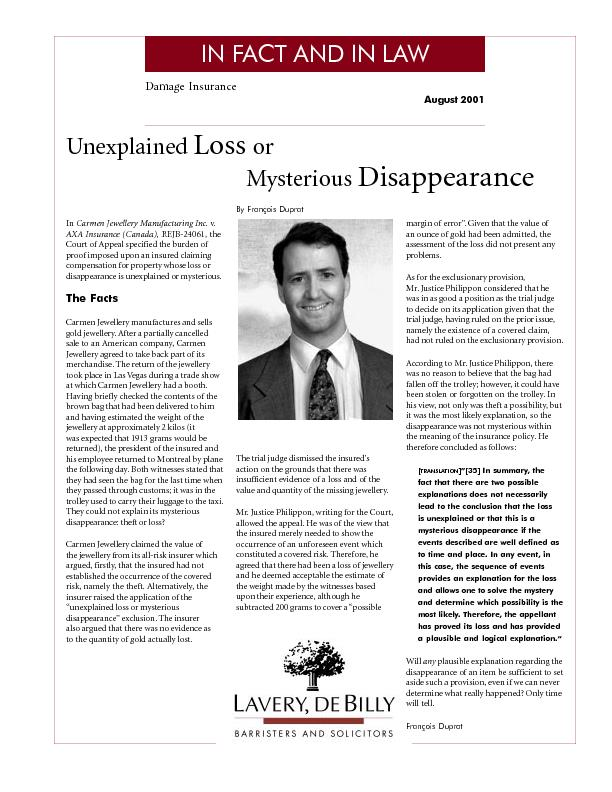Damage InsuranceAugust 2001