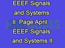 EEEF Signals and Systems II  Page April   EEEF Signals and Systems II