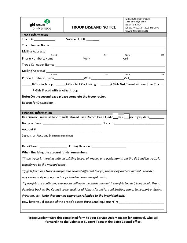 Troop LeaderGive this completed form to your Service Unit Manager for