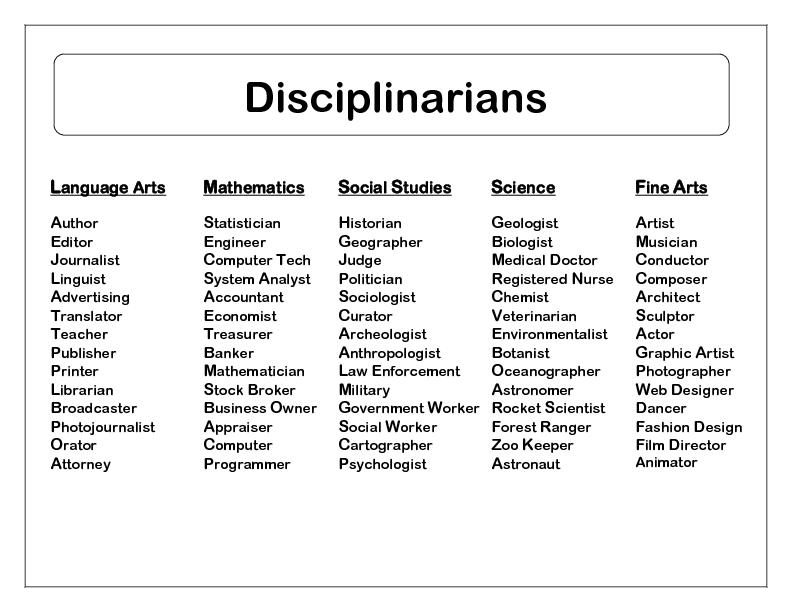 Disciplinarians    Language Arts