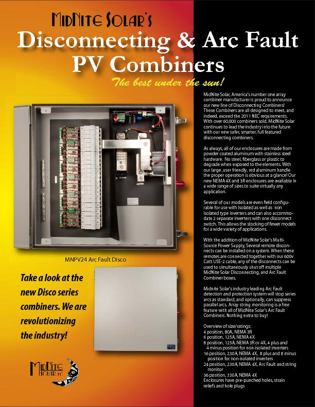 MidNite Solar, America's number one array combiner manufacturer is pro