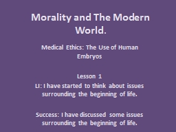 Morality and The Modern World