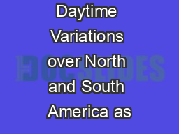 Aerosol Daytime Variations over North and South America as