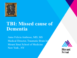 TBI: Missed cause of Dementia PowerPoint PPT Presentation