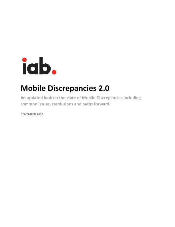 Mobile Discrepancies 2.0An updated look on the state of Mobile Discrep