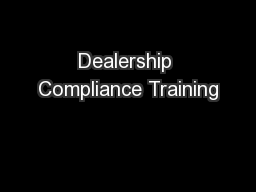 Dealership Compliance Training