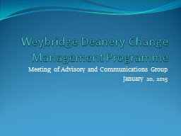 Weybridge Deanery Change Management Programme
