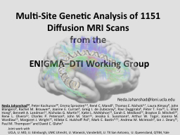 Multi-Site Genetic Analysis of 1151 Diffusion MRI Scans