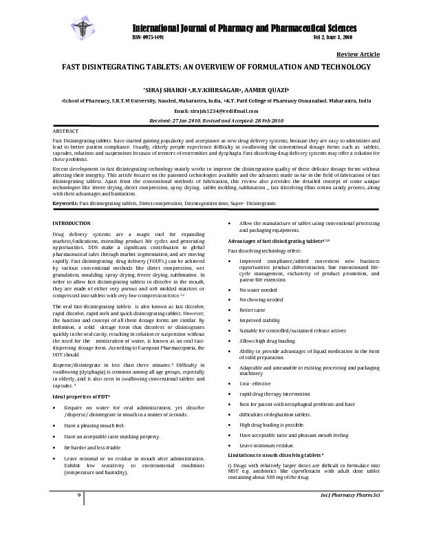 International Journal of Pharmacy and Pharmaceutical Sciences ...