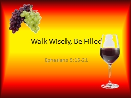 Walk Wisely, Be Filled