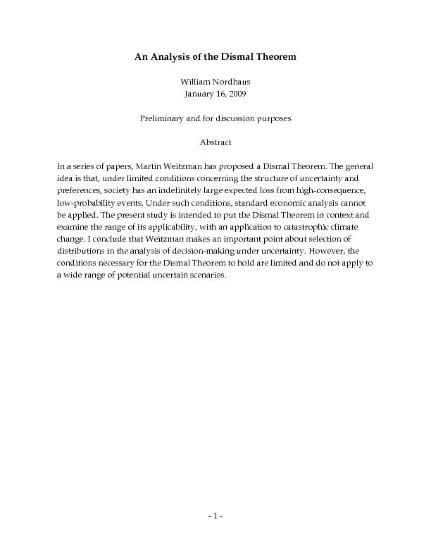 Abstract In a series of papers, Martin Weitzman has proposed a Dismal