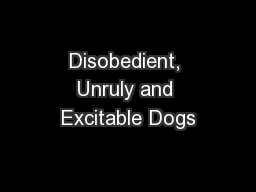 Disobedient, Unruly and Excitable Dogs