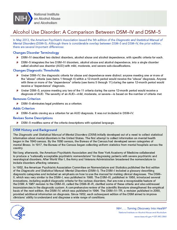 Alcohol Use Disorder: A Comparison Between DSM–IV and DSM–5M