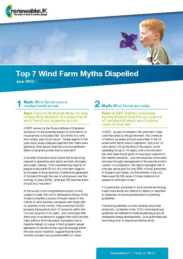 Top 7 Wind Farm Myths DispelledJune 2010  |