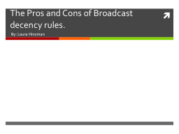 The Pros and Cons of Broadcast decency rules.