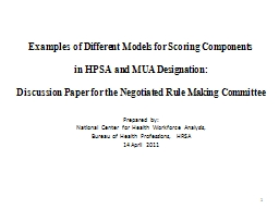 Examples of Different Models for Scoring Components