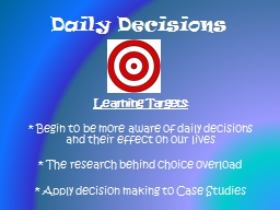 Daily Decisions PowerPoint PPT Presentation