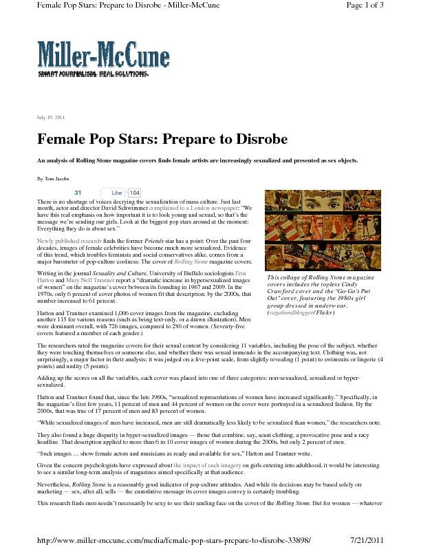 July 19, 2011 An analysis of Rolling Stone magazine covers finds femal