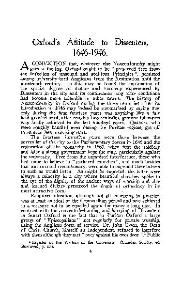 Oxford's Attitude to Dissenters, 1646 .. 1946. A CONVICTION that, wher PowerPoint PPT Presentation