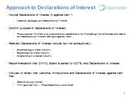 Approach to Declarations of Interest
