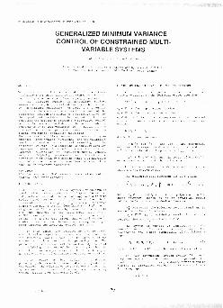 GENERALIZED MINIMUM VARIANCE ONTROL OF CONSTRA NED MUL TI VARIABLE SYSTEMS Labo ra oire dAutomatique An des Systeme du C