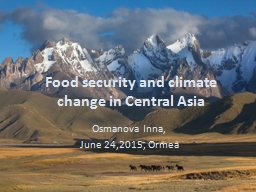 Food security and climate change in Central Asia