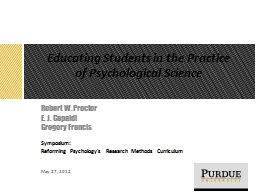Educating Students in the Practice of Psychological