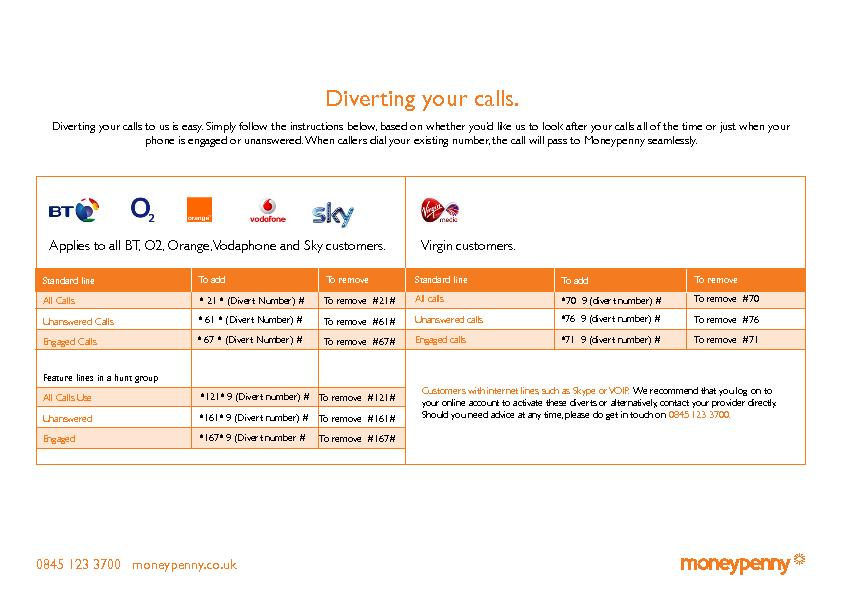 Diverting your calls to us is easy. Simply follow the instructions bel