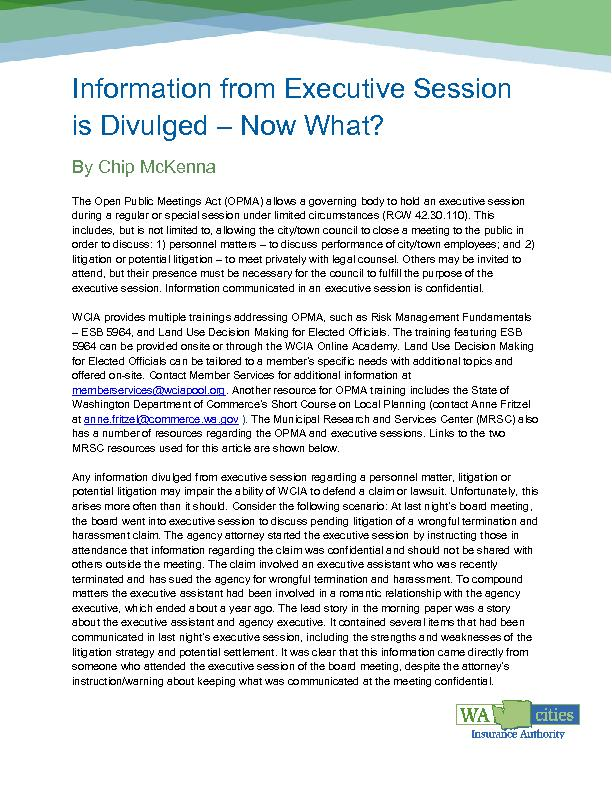 Information from Executive Sessionis Divulged Now What?By Chip McKenna