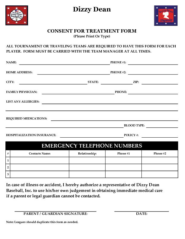 ALL TOURNAMENT OR TRAVELING TEAMS ARE REQUIRED TO HAVE THIS FORM FOR E