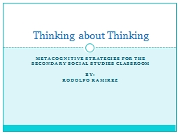 Metacognitive Strategies for the secondary social studies C
