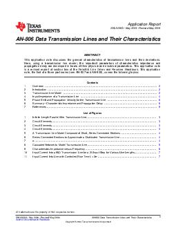 Application Report SNLAA May  Revised May  AN Data Transmission Lines and Their Characteristics