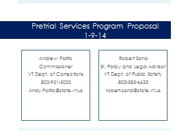 Pretrial Services Program Proposa
