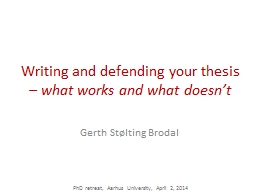 Writing and defending your thesis PowerPoint PPT Presentation