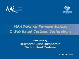 MRA Deferred Payment PowerPoint PPT Presentation