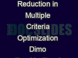 On Objective Conicts and Objective Reduction in Multiple Criteria Optimization Dimo Brockhoff and Eckart Zitzler brockhoffzitzlertik