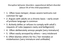 Disruptive behavior disorders: oppositional defiant disorde PowerPoint PPT Presentation