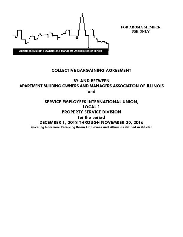 COLLECTIVE BARGAINING AGREEMENT APARTMENT BUILDING OWNERS AND MANAGERS
