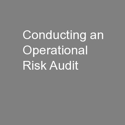 Conducting an Operational Risk Audit PowerPoint PPT Presentation