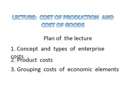 LECTURE:  COST