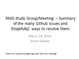 RMG Study Group/Meeting – Summary of the many PowerPoint PPT Presentation